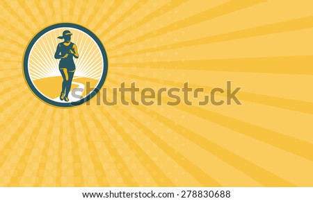 Business card showing illustration of marathon triathlete runner running winning finishing race viewed from front set inside circle on isolated background done in retro style. - stock photo