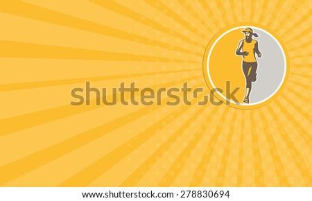 Business card showing illustration of marathon triathlete runner running winning finishing race set inside circle on isolated background done in retro style. - stock photo