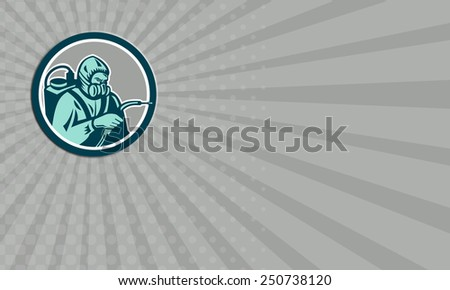Business card showing illustration of pest control exterminator spraying side view set inside circle on isolated background done in retro style. - stock photo