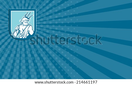 Business card showing illustration of Roman god of sea Neptune or Poseidon of Greek mythology holding a trident set inside shield crest on isolated background done in retro style