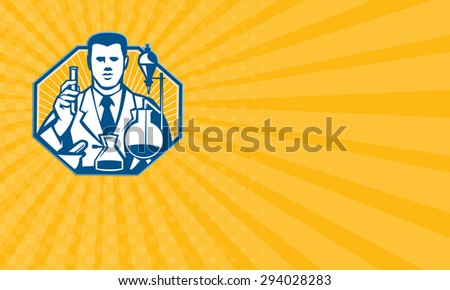Business card showing illustration of scientist laboratory researcher chemist holding test tube flask done in retro style.
