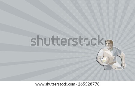 Business card showing Low polygon illustration of a rugby player with ball running set inside shield crest nonagon shape on isolated background. - stock photo