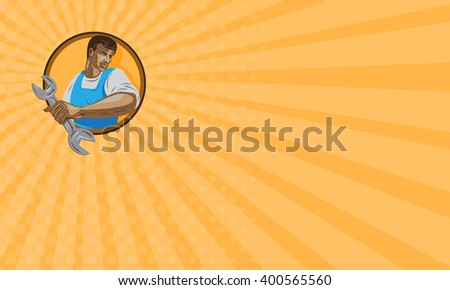 Business card showing WPA style illustration of a mechanic worker looking to the side holding spanner wrench set inside circle on isolated background.  - stock photo