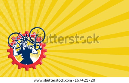 Business card template showing illustration of a cyclist bicycle mechanic carrying racing bike on shoulder holding spanner wrench side set inside cog mechanical gear sprocket done in retro style. - stock photo