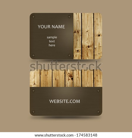 business card template with wooden background - stock photo