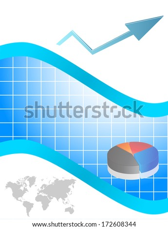 Business card with chart and arrow - stock photo