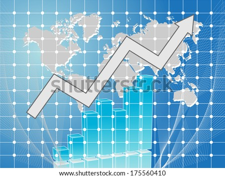 business card with chart and arrow and map of world - stock photo