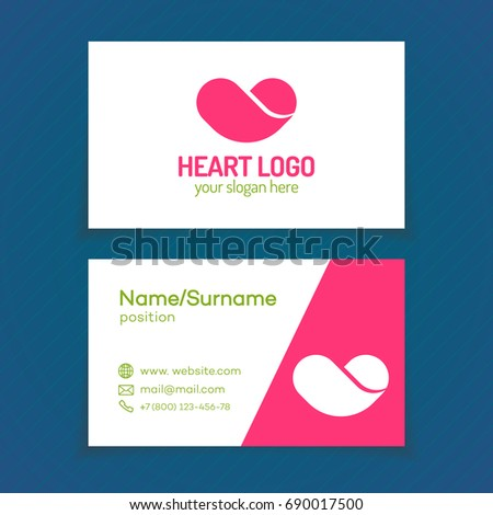 Business Card With Heart Logo Template Design On White Background