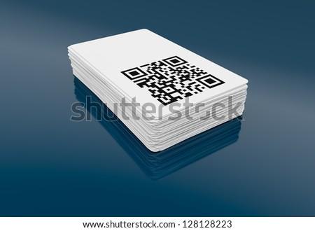 Business card qr code 3 d render stock illustration 128128223 business card with qr code 3d render colourmoves