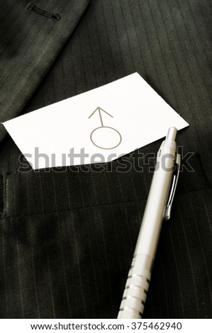 Business card with the sign MALE SEX  - stock photo