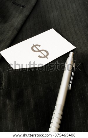 Business card with the sign US DOLLAR  - stock photo