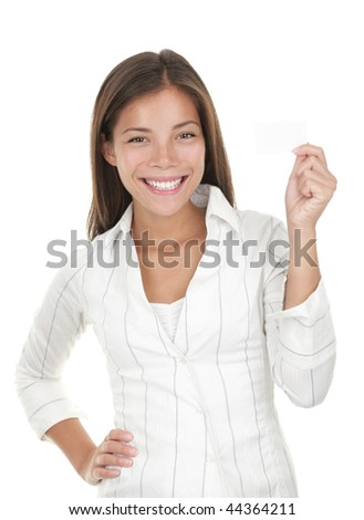Business card woman. Portrait of a young beautiful businesswoman holding a blank white paper sign. Mixed race chinese / caucasian woman isolated on seamless white background. - stock photo