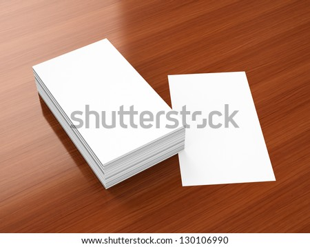 Business cards blank mockup - portrait orientation template - stock photo