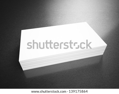 Business cards blank mockup - template - leather background - stock photo