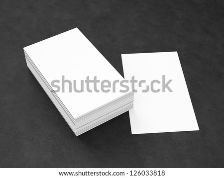 Business cards blank mockup - template - leather background - portrait orientation template - stock photo