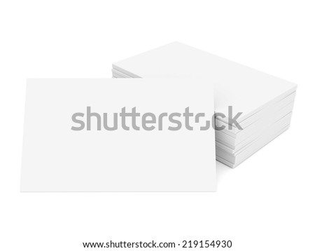 Business cards blank mockup - template - white background - stock photo