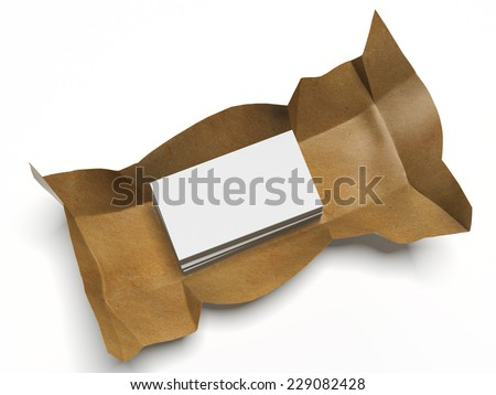 Business cards in crumpled paper  - stock photo
