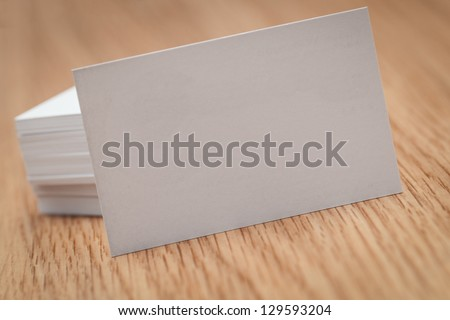 Business cards on a desk - stock photo