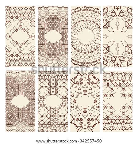 Business cards. Vintage decorative elements. Hand drawn background. Islam, Arabic, Indian, ottoman motifs. Raster version - stock photo