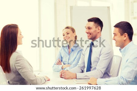business, career and office concept - smiling businesswoman at job interview in office - stock photo