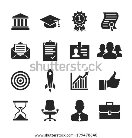 Business career icons. Raster illustration. Simplus series - stock photo