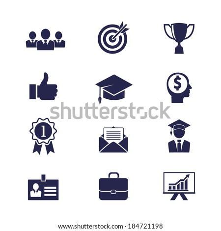 Business career icons set for web and apps - stock photo