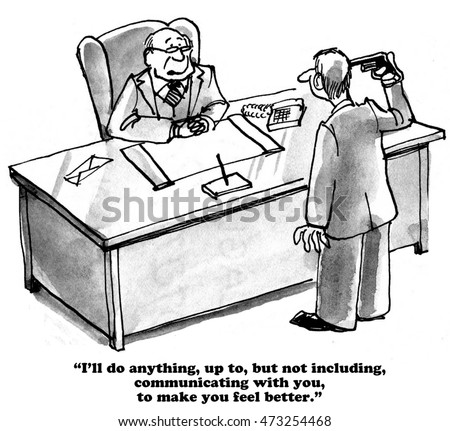 Business cartoon about a boss who has no empathy for his sad employee.