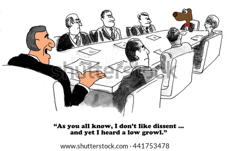 Business cartoon about a dictatorial boss and a dissenting voice. - stock photo