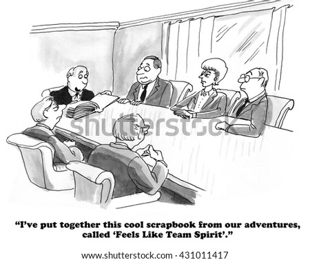 Business cartoon about a team scrapbook.