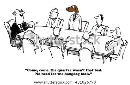 Business cartoon about achieving quarterly results.