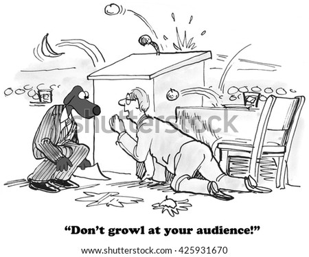 Business cartoon about an audience throwing rotten food at a speaker.