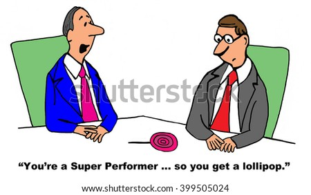 Business cartoon about an excellent performance review.
