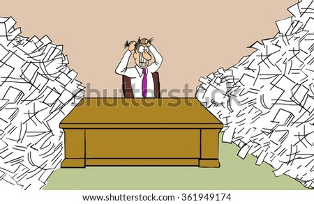 Business cartoon about being overworked.  Businessman is pulling his hair out because he is so backed up with paperwork.