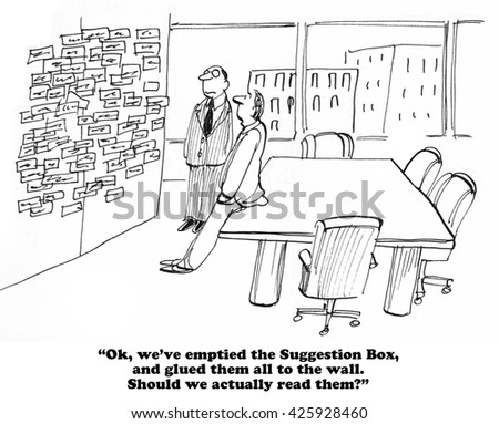 Business cartoon about businessmen wondering if they should actually read the suggestions from the suggestion box. - stock photo