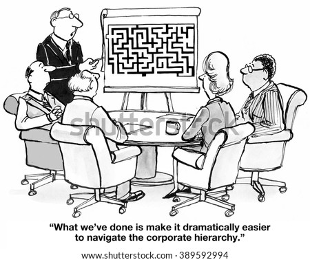 Business cartoon about corporate hierarchy.