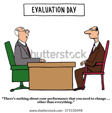 Business cartoon about performance reviews.  The employee has to change everything about his job performance to satisfy his boss.  - stock photo