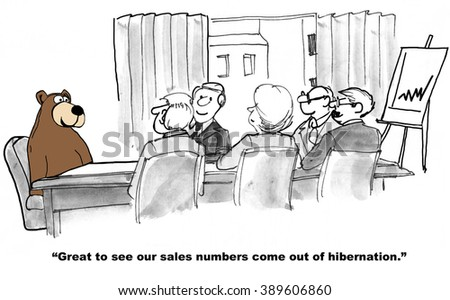 Business cartoon about sales growth.