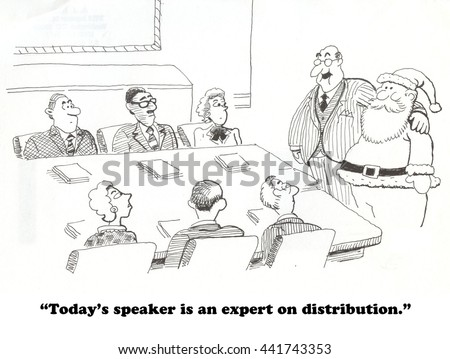 Business cartoon about Santa as expert on distribution.