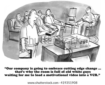 Business cartoon about sexism and the refusal to change. - stock photo