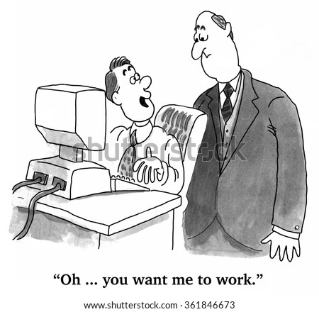 Business cartoon about slackers.  The boss caught the employee playing video games at work.
