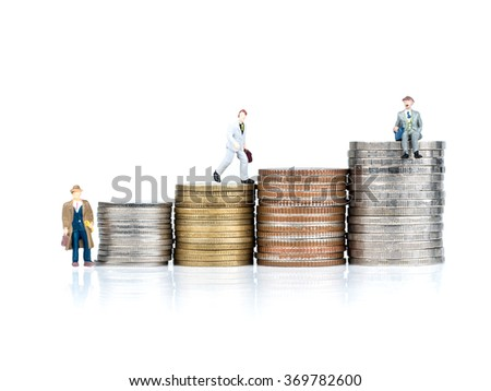 business cartoon characters standing on metal coin, business concept
