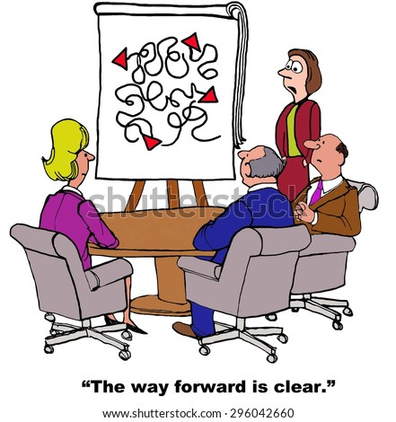 Business cartoon of meeting and chart with many lines, businesswoman refers to chart and says, 'the way forward is clear'.