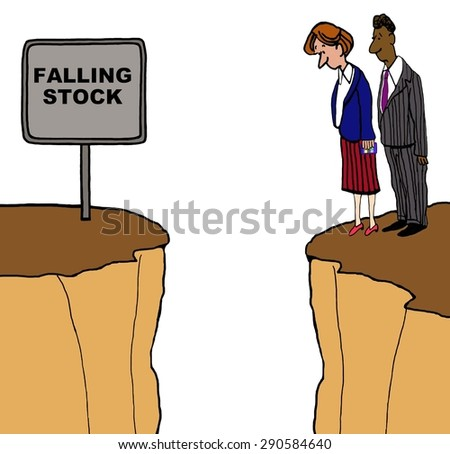 Business cartoon of two businesspeople on a cliff and looking down and a sign that reads, 'falling stock'. - stock photo