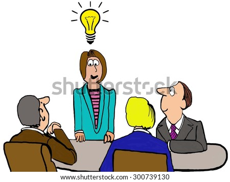 Business cartoon showing a business meeting and businesswoman standing with lightbulb, implying innovative thought, above her head. - stock photo