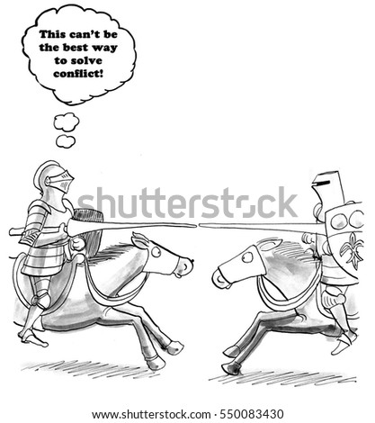 Business cartoon showing two businessmen jousting, one is thinking there must be a better way to solve conflict.