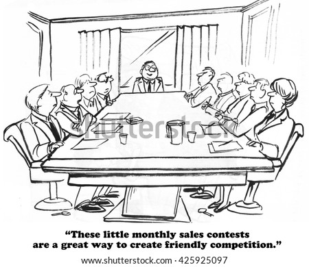 Business cartoon where the sales boss has a monthly sales contest.