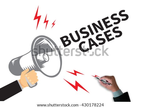 BUSINESS CASES businessman work on white broad, top view - stock photo
