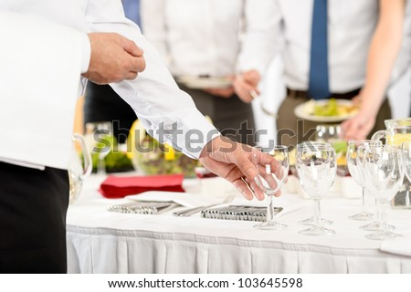 Business catering glasses for company formal celebration close-up - stock photo