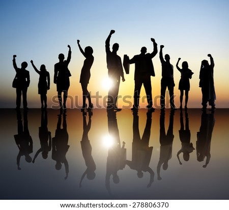 Business Celebration Achievement Community Cheerful Concept - stock photo