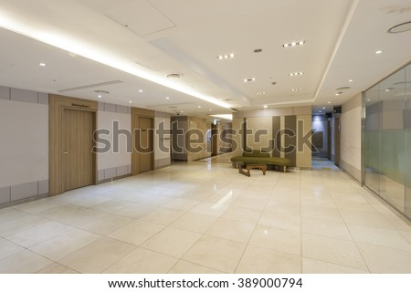 business center and corridor(hall, passage) and marble bottom, wall tv(HD, LED, monitor, kiosk) at the hotel in south korea. - stock photo